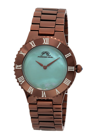 Porsamo Bleu Lexi luxury women's stainless steel watch, brown, blue 942DLES