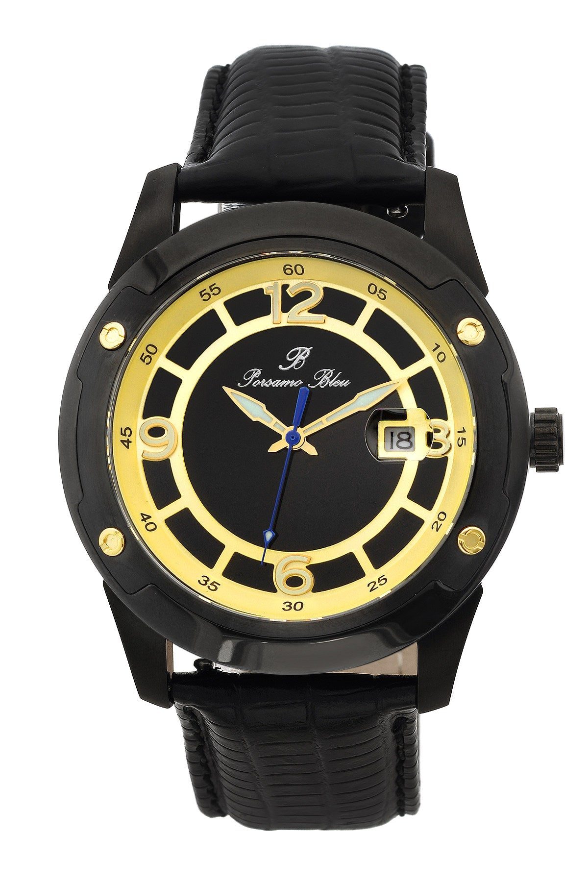 Porsamo Bleu Tokyo luxury Automatic men's watch, genuine leather band, gold, black 175ATOL