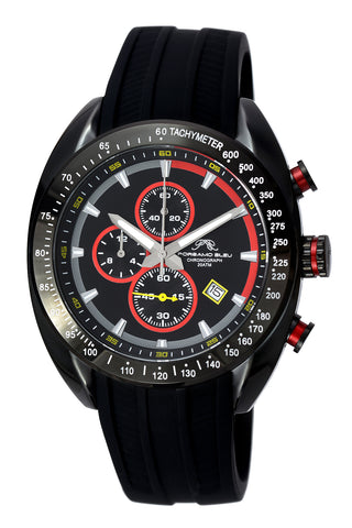 Porsamo Bleu Julien luxury  chronograph men's watch, silicone strap, black, red 275AJUS