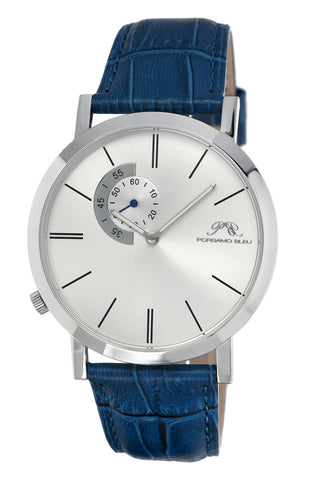 Porsamo Bleu Parker luxury men's watch, genuine leather band, silver, blue 831CPAL