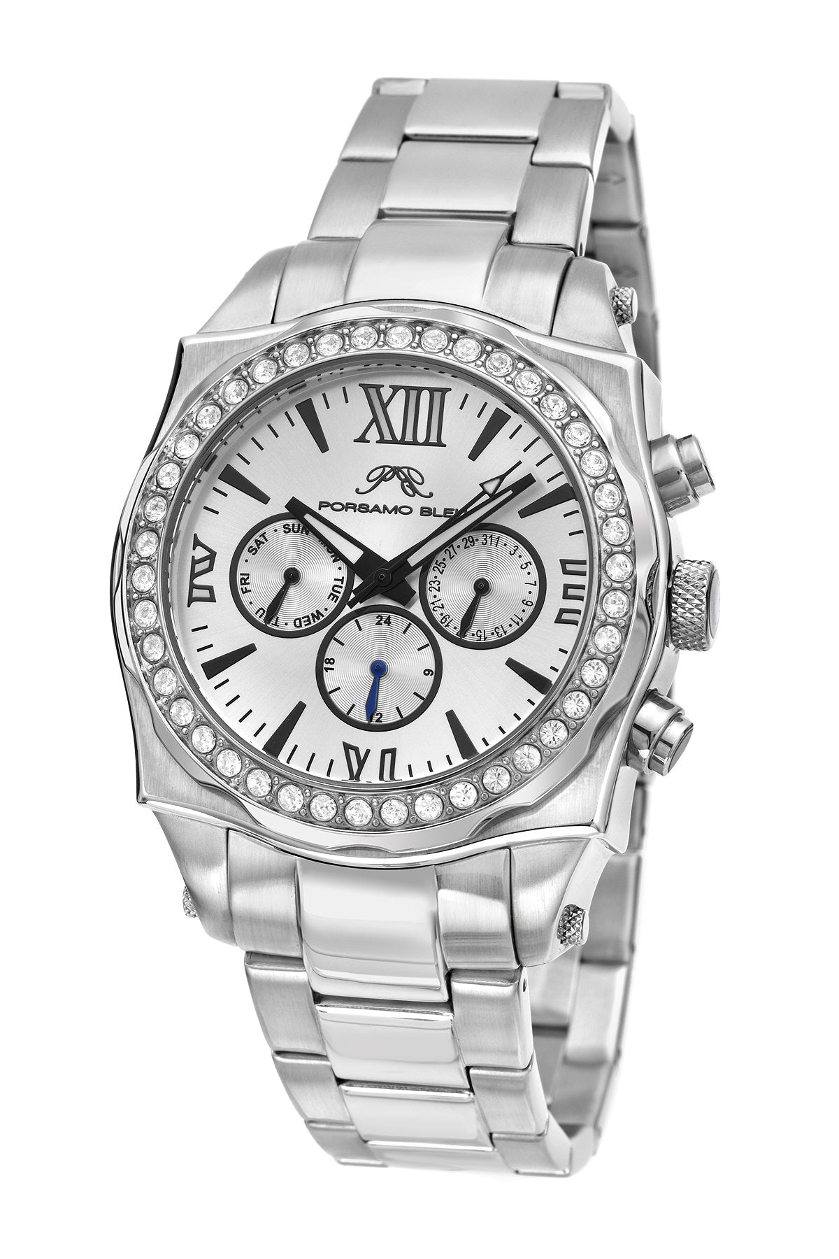 Porsamo Bleu Milan Crystal luxury women's stainless steel watch, Swarovski® crystals, silver, 036CMCS