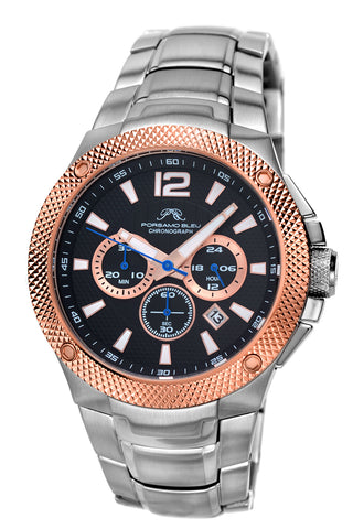 Porsamo Bleu Pierre luxury chronograph men's stainless steel watch, silver, rose, black 252CPIS