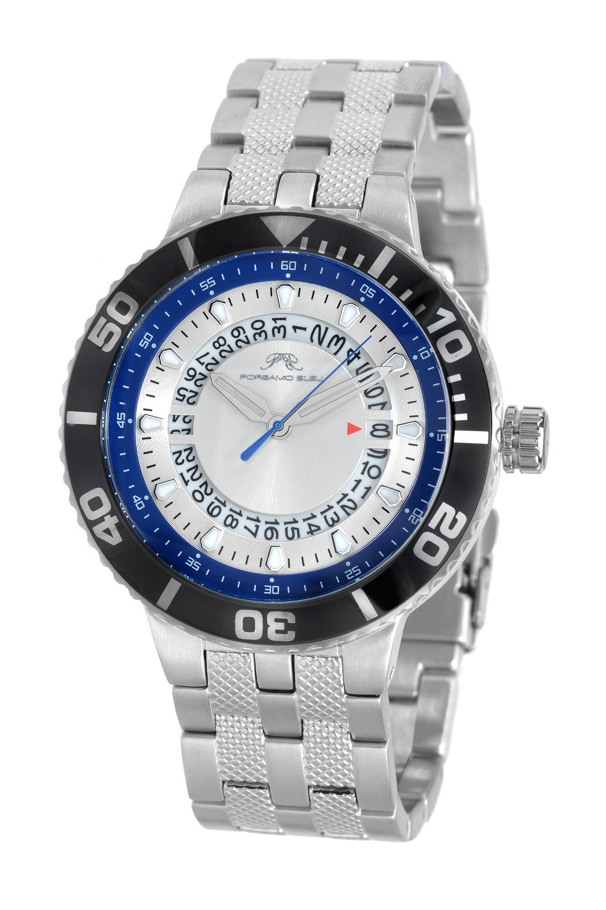 Porsamo Bleu Sebastian luxury men's stainless steel watch, silver, black, blue 462ASES