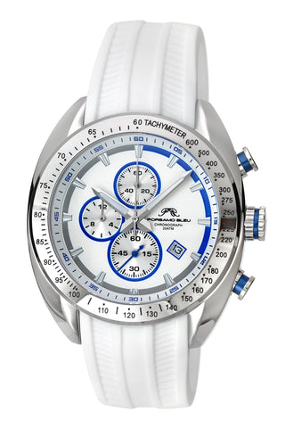 Porsamo Bleu Julien luxury  chronograph men's watch, silicone strap, white, blue 275CJUS
