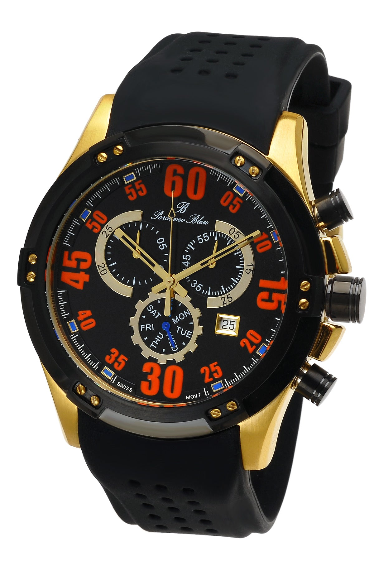 Porsamo Bleu Cancun luxury chronograph men's watch, silicone strap, gold, black 063CCAR