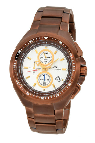 Porsamo Bleu Damien luxury chronograph men's stainless steel watch, brown 311DDAS