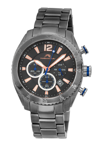 Porsamo Bleu Taylor luxury chronograph men's stainless steel watch, grey 621FTAS
