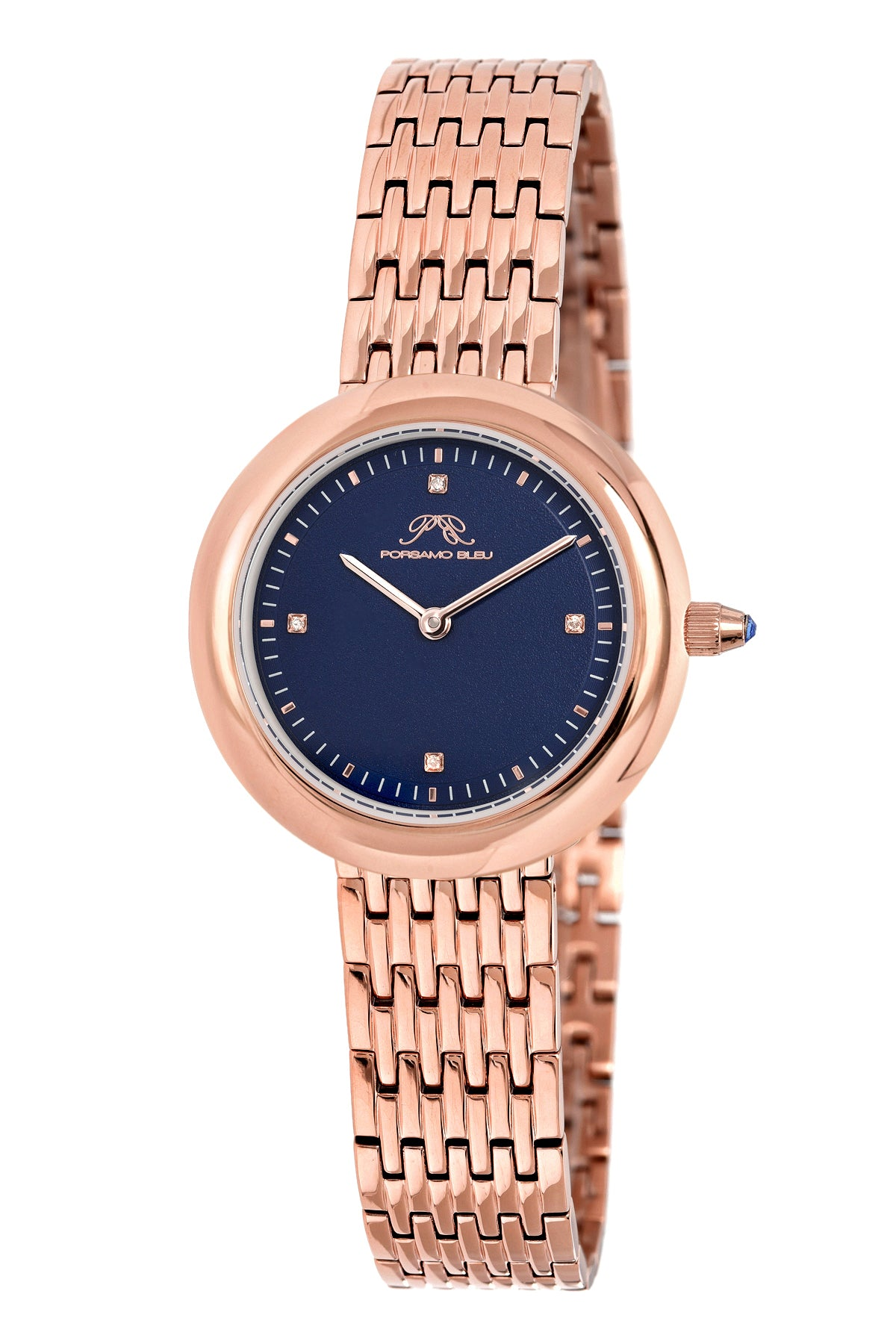 Porsamo Bleu Florentina luxury diamond women's stainless steel watch, blue, rose 902CFLS