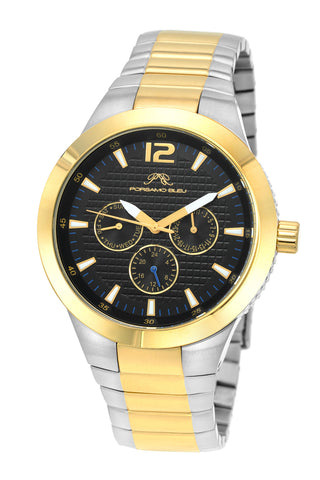 Porsamo Bleu Luca luxury men's stainless steel watch, gold, silver, black 531DLUS