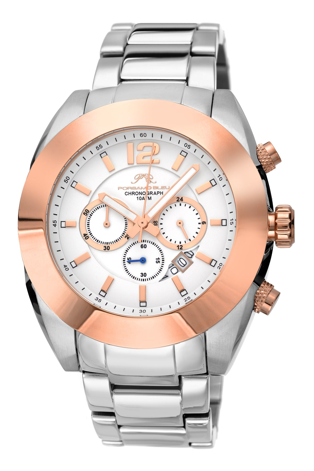 Porsamo Bleu Pascal luxury chronograph men's stainless steel watch, silver, rose 261APAS