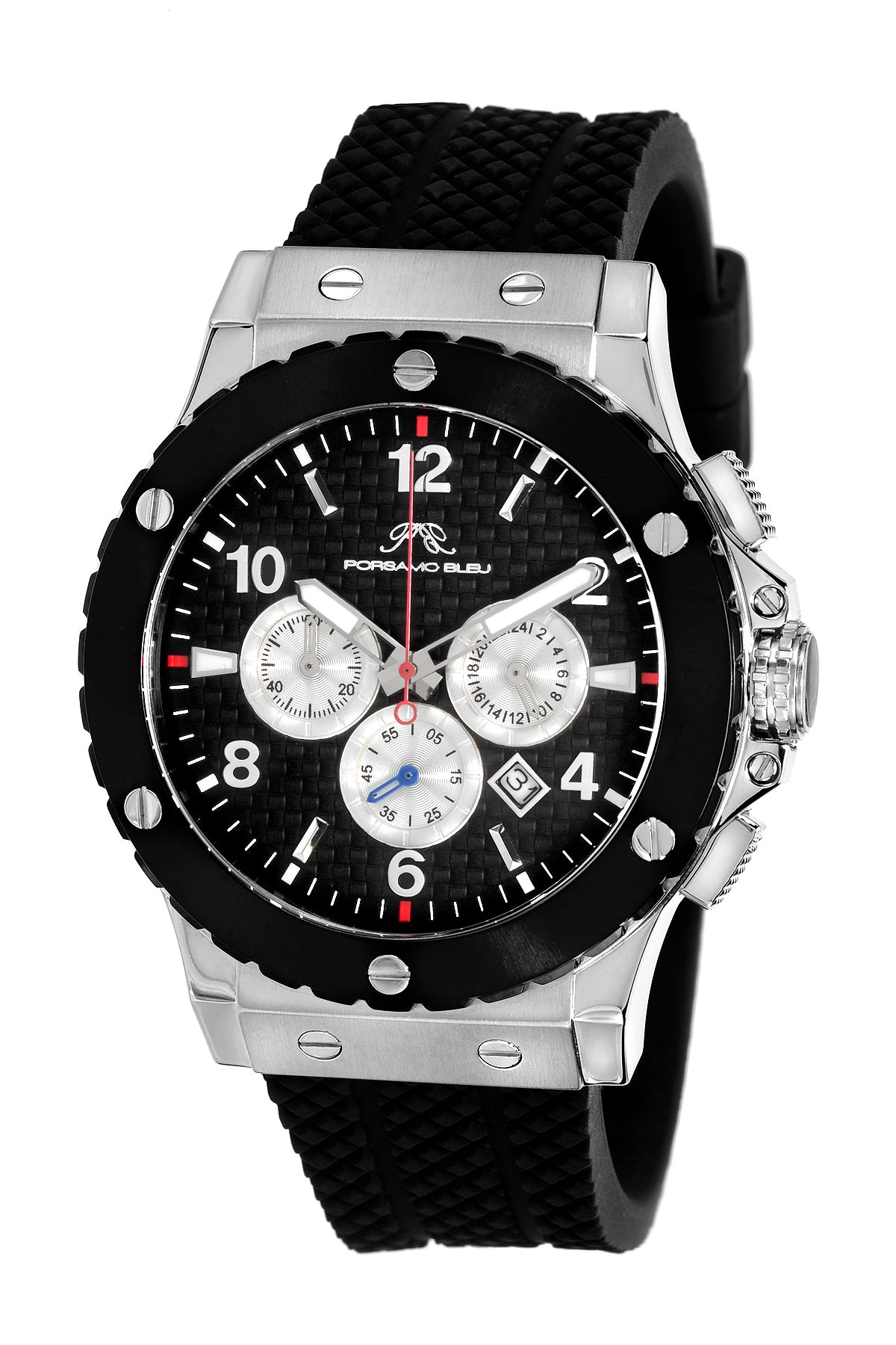 Porsamo Bleu Marcus luxury chronograph men's watch, silicone strap, silver, black 651BMAR