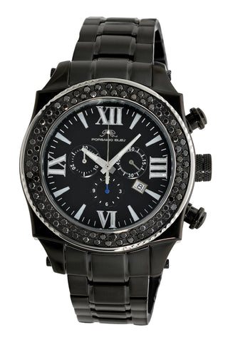 Porsamo Bleu Milan G Noir luxury chronograph men's stainless steel watch, black 073BMIS