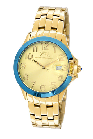 Porsamo Bleu Olivia luxury women's stainless steel watch, gold, blue 982BOLS