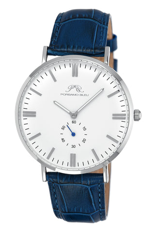 Porsamo Bleu Henry luxury men's watch, genuine leather band, silver, blue, white 841BHEL