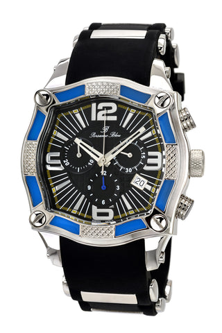 Porsamo Bleu Sao Paulo luxury chronograph men's watch, silicone strap, black, blue 024ASPR