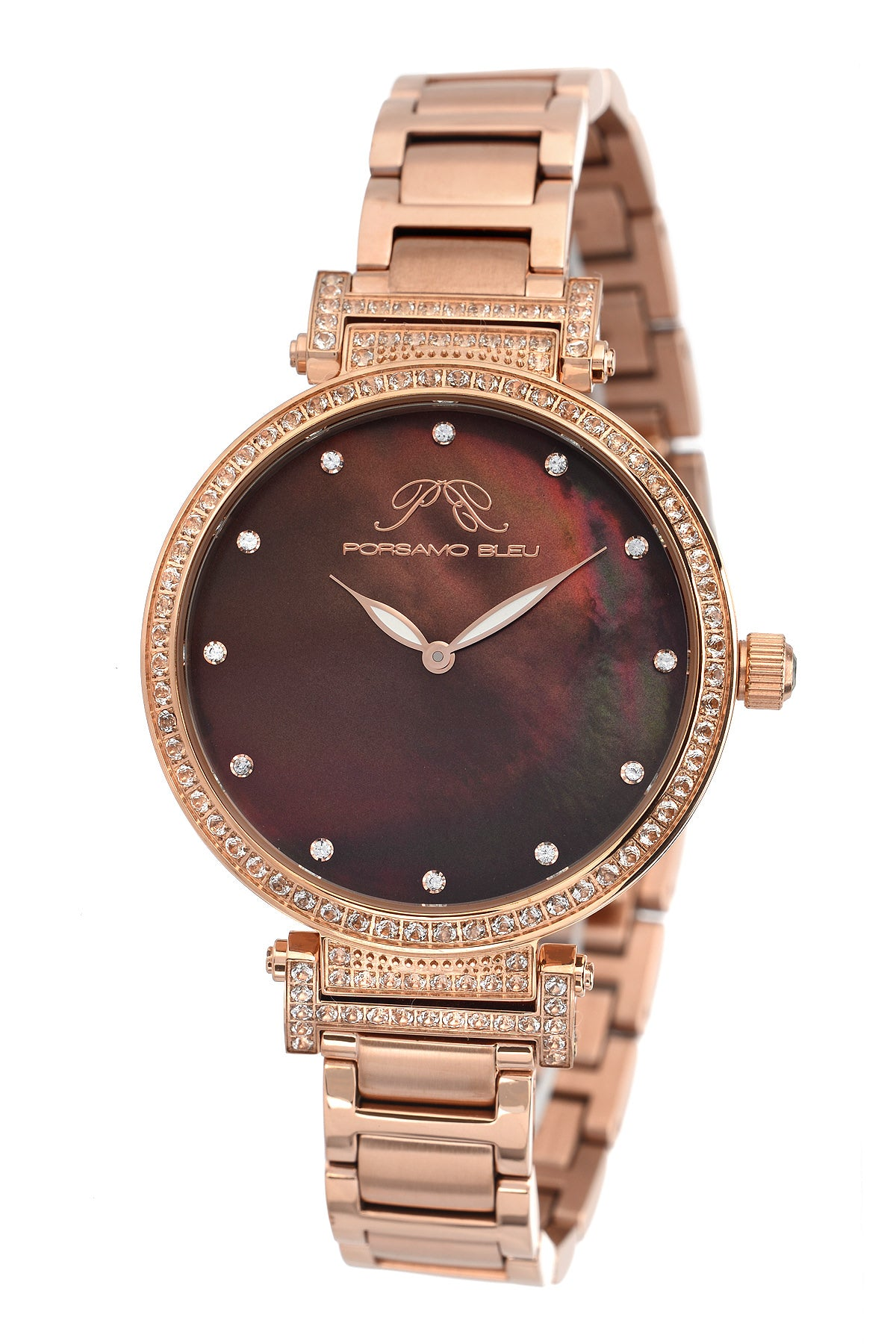 Porsamo Bleu Chantal luxury topaz women's stainless steel watch, rose, brown 672CCHS