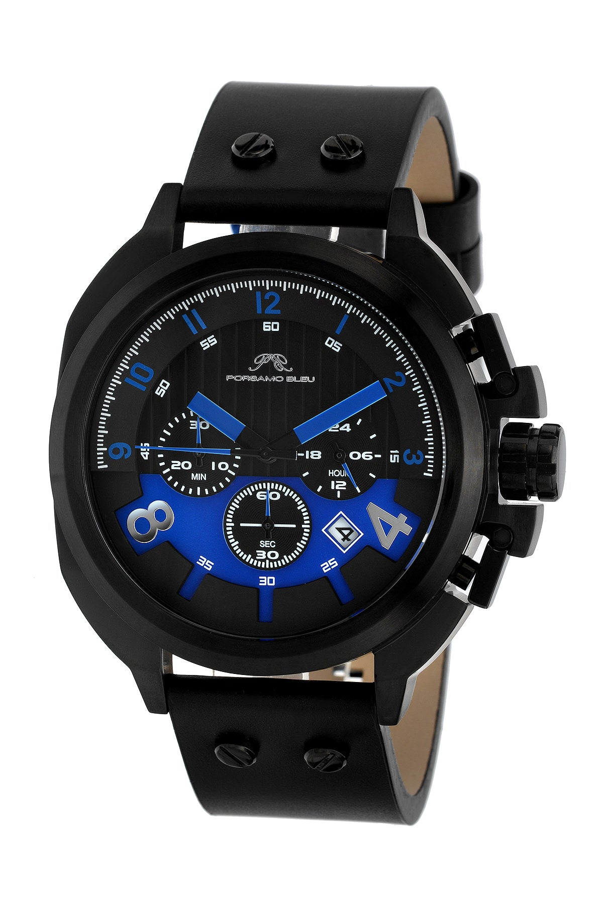 Porsamo Bleu Connor luxury chronograph men's watch, genuine leather band, black, blue 421ACOL