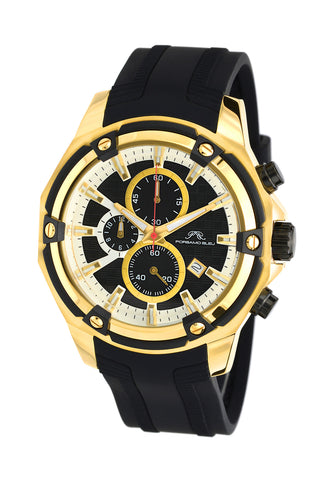 Porsamo Bleu Stavros luxury chronograph men's watch, silicone strap, gold, black 482ASTR
