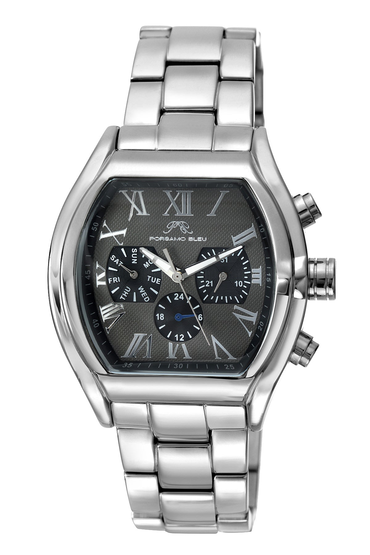 Porsamo Bleu Bruno luxury men's stainless steel watch, silver 201CBRS