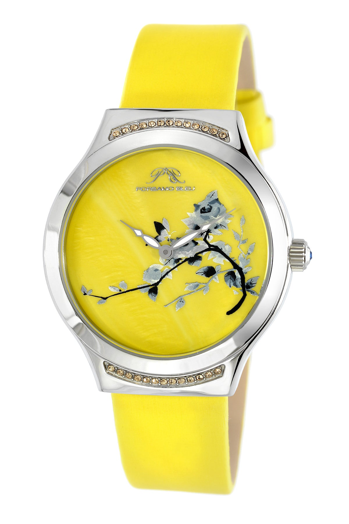 Porsmao Bleu Carmen luxury women's watch, satin covered genuine leather band, silver, yellow 992DCAL