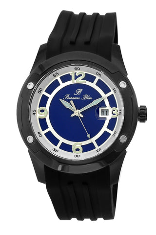 Porsamo Bleu Tokyo luxury Automatic men's watch, silicone strap, silver, black 172ATOR