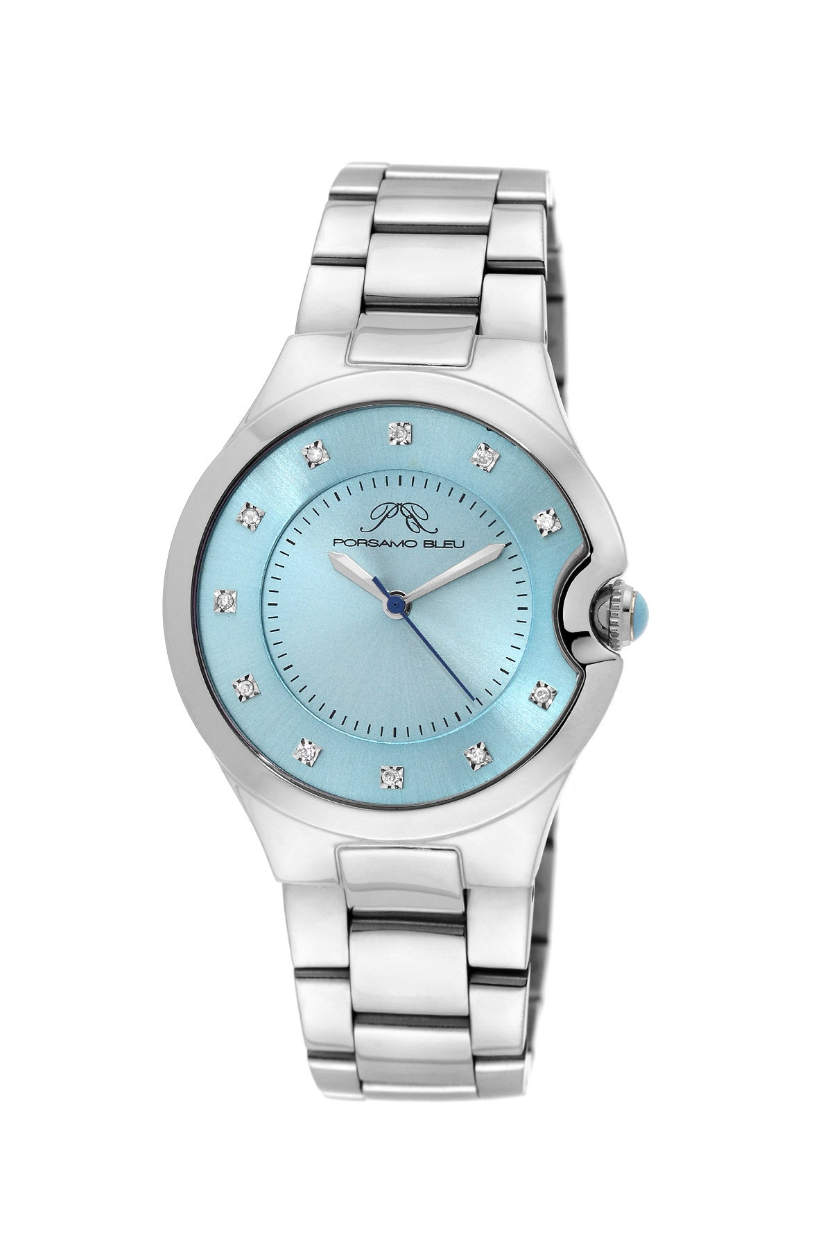 Porsamo Bleu Emilia luxury diamond women's stainless steel watch, silver, blue 822CEMS