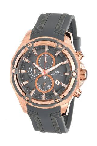 Porsamo Bleu Stavros luxury chronograph men's watch, silicone strap, rose, grey 481ASTR