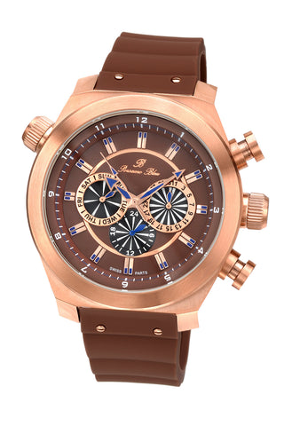 Porsamo Bleu Sydney luxury men's watch, silicone strap, rose, brown 165ASYR