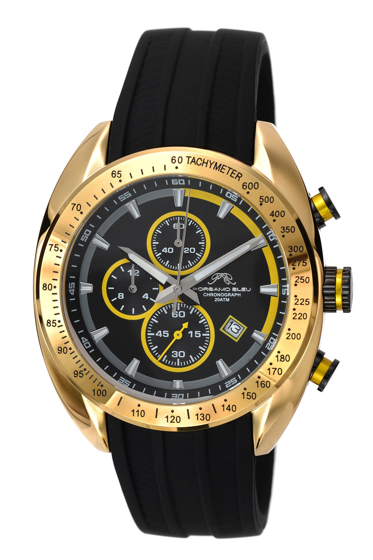 Porsamo Bleu Julien luxury  chronograph men's watch, silicone strap, gold, black 275BJUS