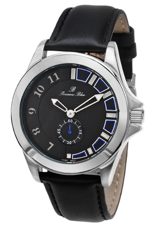 Porsamo Bleu Soho luxury men's dress watch with genuine leather band silver tone and black 041CSOL