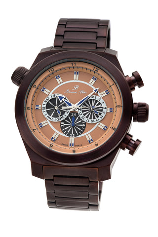 Porsamo Bleu Sydney luxury men's stainless steel watch, brown 164BSYS