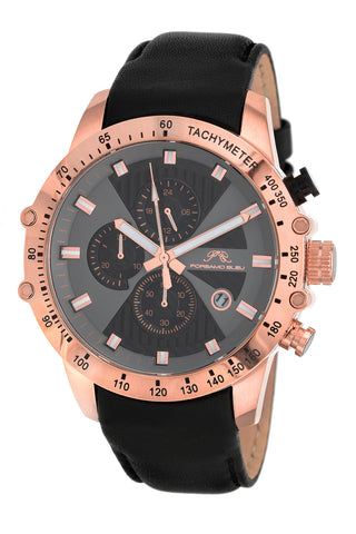 Porsamo Bleu Aiden luxury chronograph men's watch, genuine leather band, rose, black 362CAIL