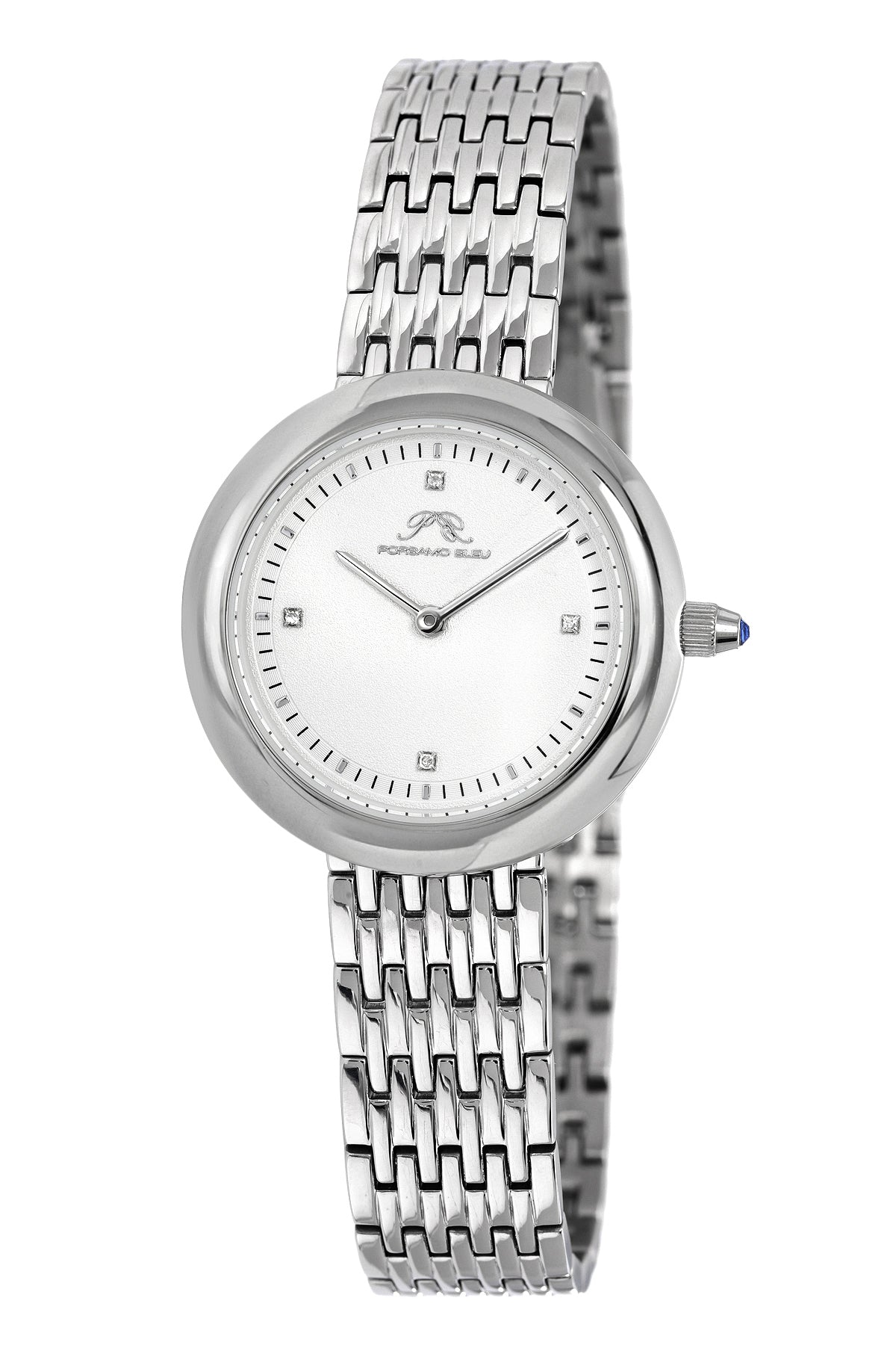 Porsamo Bleu Florentina luxury diamond women's stainless steel watch, white,silver 901AFLS