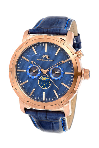 Porsamo Bleu NYC Moon luxury men's watch, genuine leather band, rose, blue 058CNYL