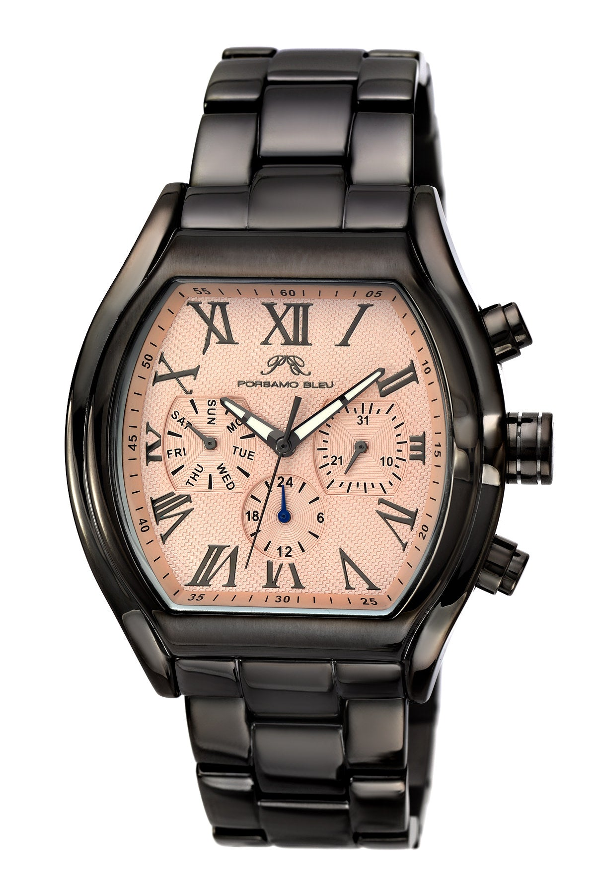 Porsamo Bleu Bruno luxury men's stainless steel watch, black, rose 203BBRS