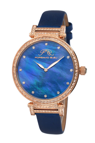 Porsamo Bleu Chantal luxury topaz women's watch, satin covered genuine leather band, rose, blue 673CCHL