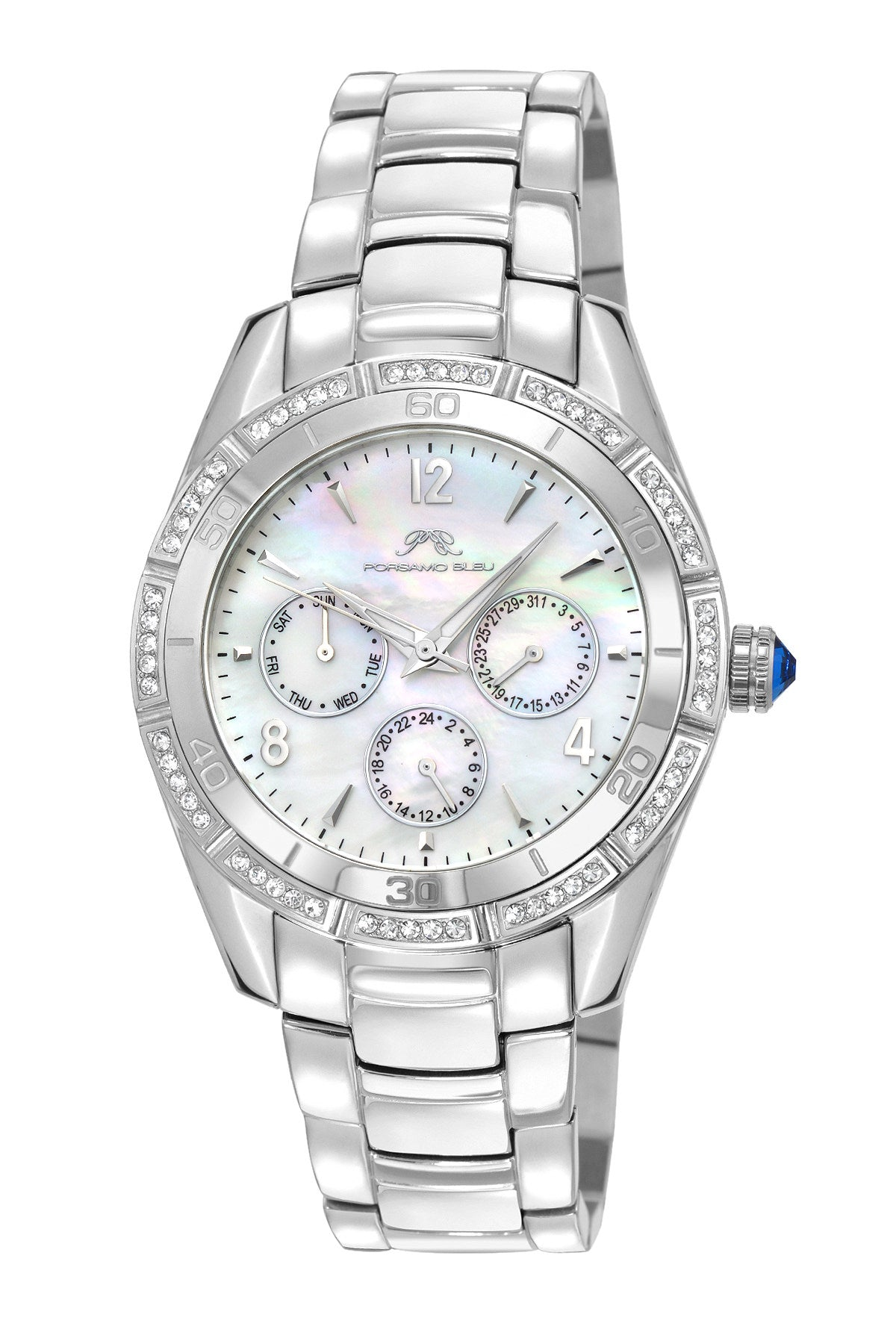 Porsamo Bleu Valentina luxury women's stainless steel watch, silver, white 541AVAS
