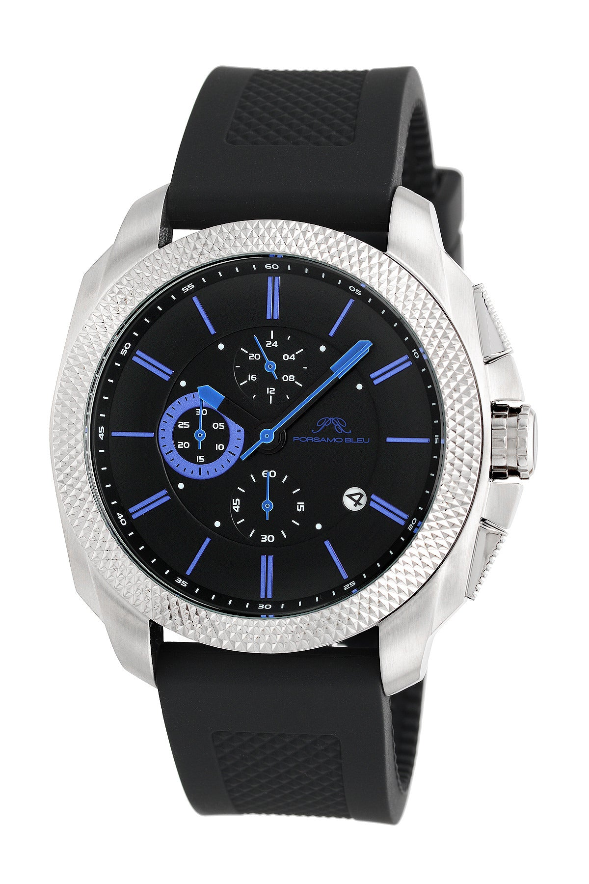 Porsamo Bleu Niccolo luxury chronograph men's watch, silicone strap, silver, black, blue 332BNIR