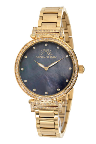 Porsamo Bleu Chantal luxury topaz women's stainless steel watch, gold, black 672BCHS