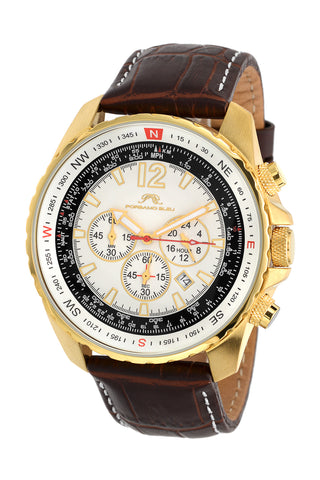 Porsamo Bleu Martin luxury  chronograph men's watch, genuine leather band, gold, brown 351BMAL