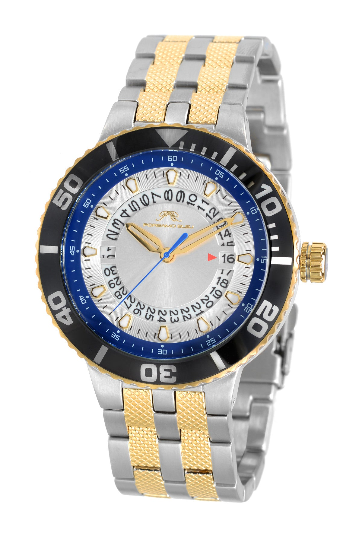 Porsamo Bleu Sebastian luxury men's stainless steel watch, gold, silver, black, blue 462CSES
