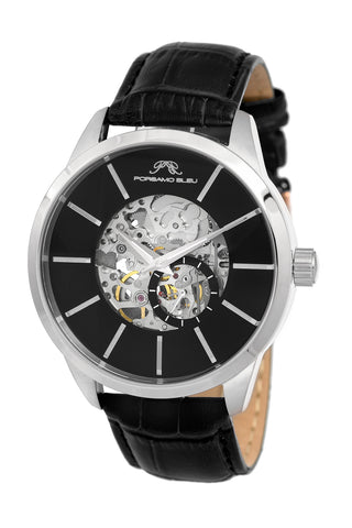 Porsamo Bleu Cassius luxury automatic men's watch, genuine leather band, silver, black 801CCAL