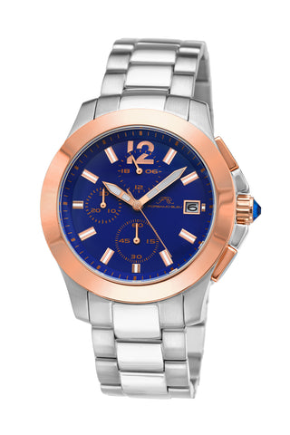 Porsamo Bleu Harper luxury chronograph women's stainless steel watch, silver, rose, blue 522AHAS