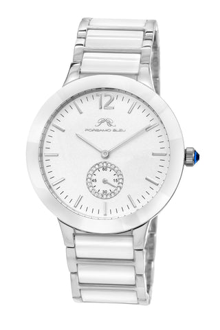 Porsamo Bleu Clarissa luxury women's ceramic watch, silver, white 551ACLC