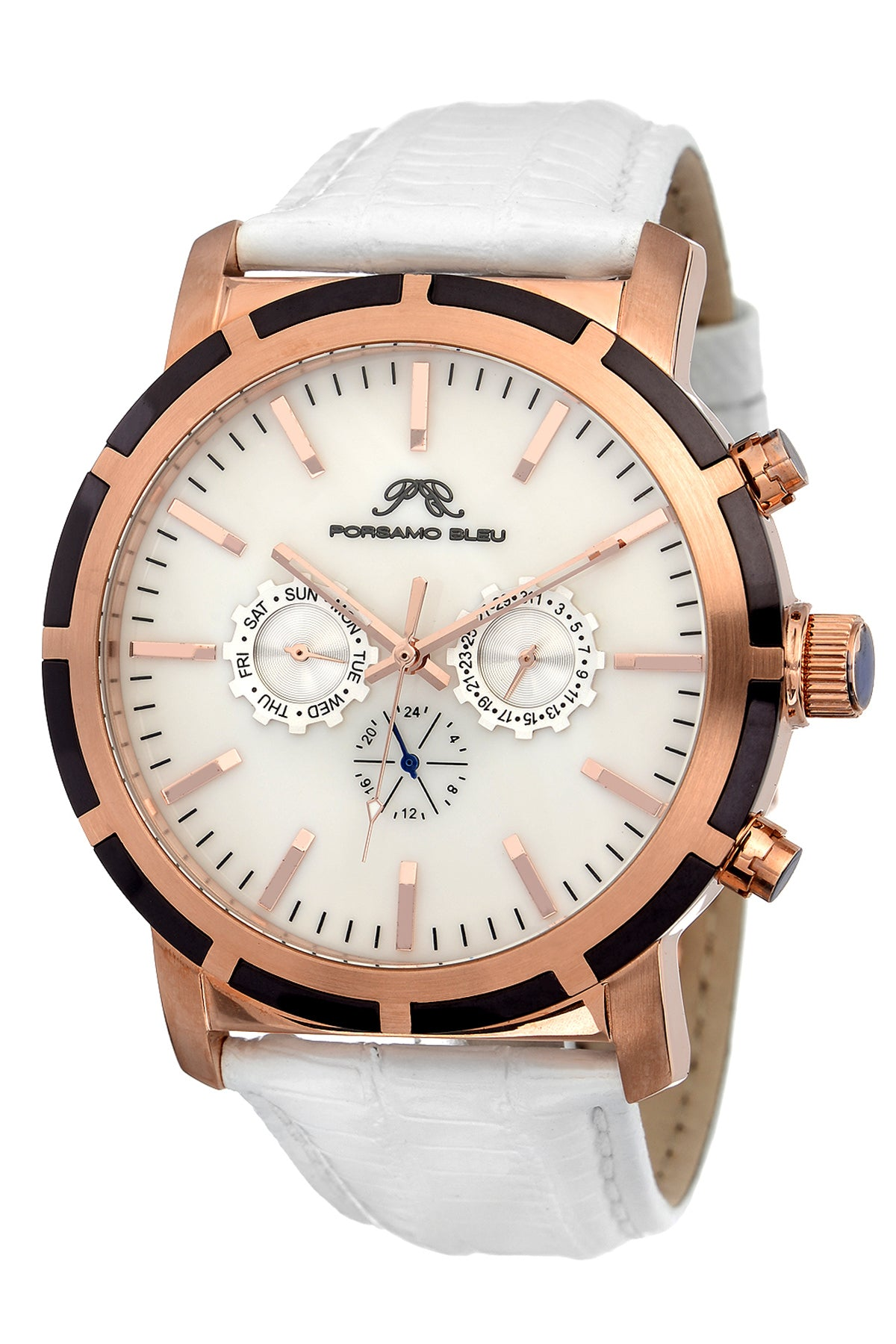 Porsamo Bleu NYC luxury men's watch, genuine leather band, rose, white 052ANYL