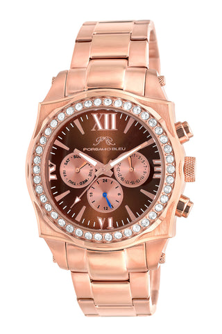 Porsamo Bleu Milan Crystal luxury women's stainless steel watch, Swarovski® crystals, rose, 038FMCS