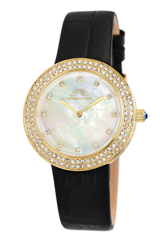 Porsamo Bleu Larissa luxury women's watch, genuine leather band, crystal inlaid bezel, white, gold, black 891BLAL