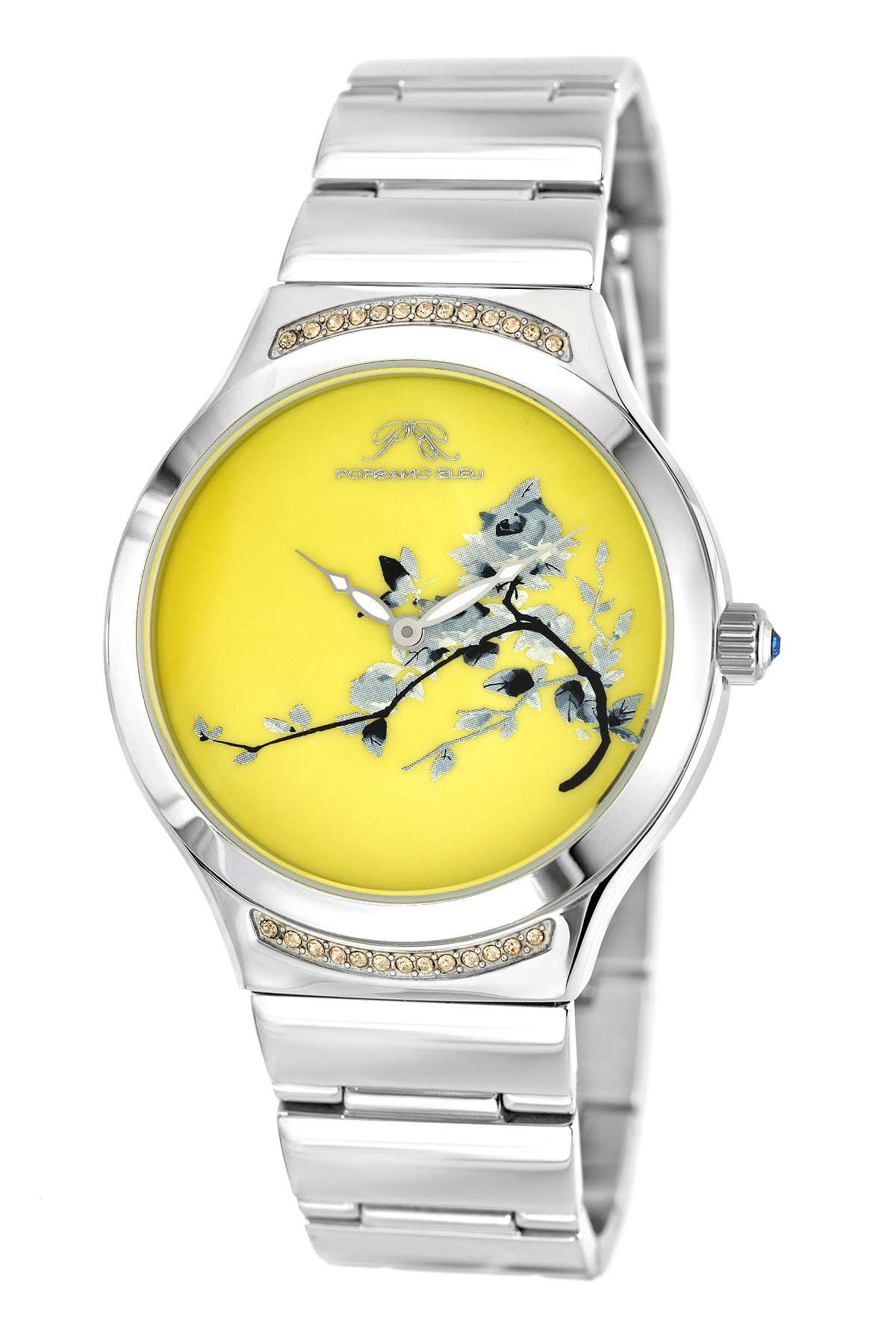 Porsmao Bleu Carmen luxury women's stainless steel watch, silver, yellow 991DCAS
