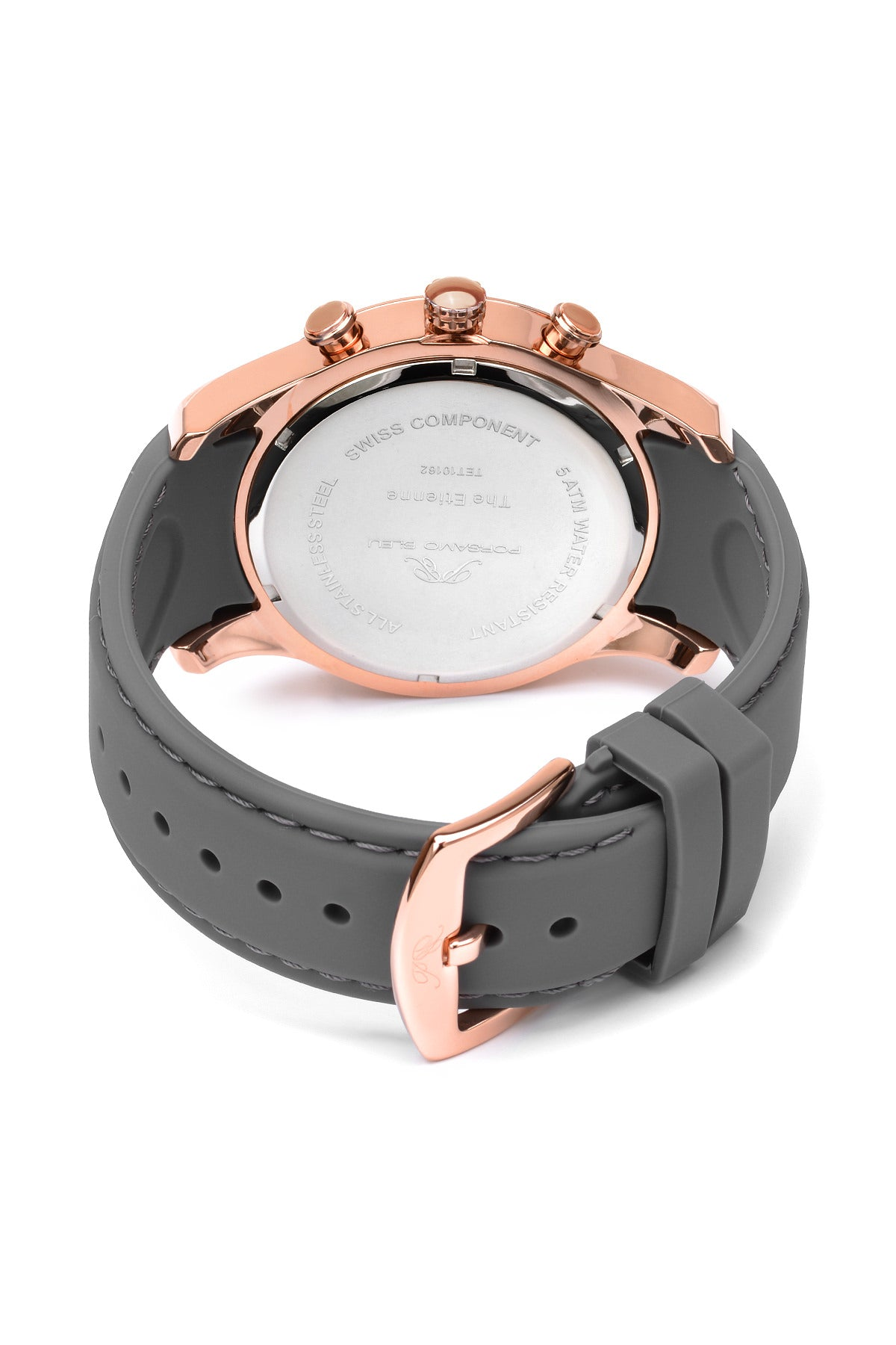 Porsamo Bleu Etienne luxury men's watch, silicone strap, rose, silver 213AETR