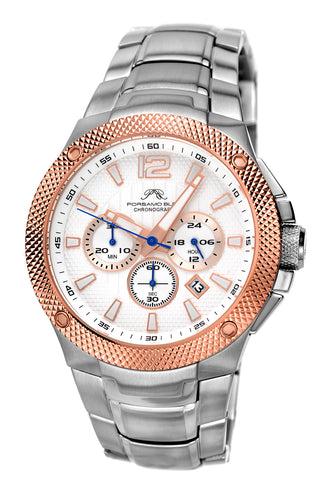 Porsamo Bleu Pierre luxury chronograph men's stainless steel watch, silver, rose, white 251CPIS